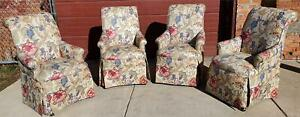 HIGH END SET OF 4 PROFESSIONALLY UPHOLSTERED ARMCHAIRS with CASTERS FREESHIPPING