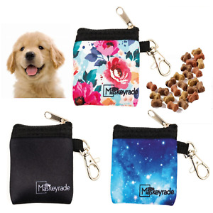 Dog Puppy Treat Lead Keyring Pouch, Small, Zip, Clasp Walking Training Food Bag