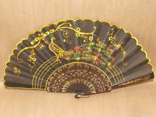 "Vintage Lucite w/ Sheer Black Fabric & Embroidery Peacock Hand Fan 9.5"" to 17.5"""