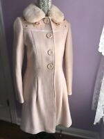 NWT Casablanca Women Pink Wool coat Detachable Fur collar Embroidered Sz S 4 6