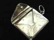 Solid Silver engraved envelope stamp case photo holder Locket Fob Chatelaine