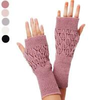 Women's Long Hand Embroidered Gloves Knitted Warm For winter Fingerless