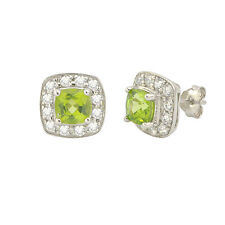 Peridot Gemstone Stud Earrings 925 Sterling Silver Square Micropave CZ Accent