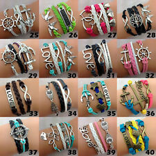 50pcs assorted Multilayer Hand Made Infinity leather alloy fashion cuff Bracelet