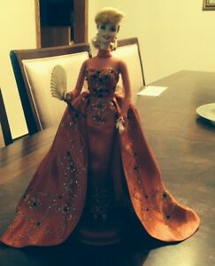 Porcelain Holiday Barbie Doll - Red Dress 1998