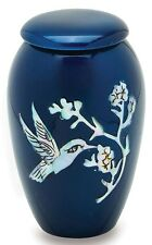 Blue Hummingbird 3 Cubic Inches Small/Keepsake Funeral Cremation Urn for Ashes