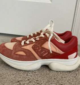 Tory Burch Sport Bubble Lace Up Sneakers Shoes Women's Size 7 Red