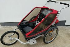 Chariot Cougar 2 double child baby bike cycle trailer, plus running buggy kit