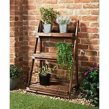 Burntwood Garden 3 Tier Ladder Shelf Shelves Foldable Wooden Flower Stand
