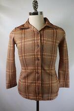New listing C9372 Vtg 70s Men's Button-Front Long Sleeve Plaid Shirt