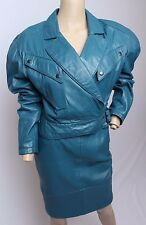 VTG 80's Michael Hoban North Beach Leather Blue Moto Jacket Skirt Set 6 8