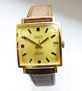 Schöne Condor Rectangular Automatic 25Jewels mit Datum Herren Vintage Armbanduhr