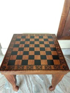 "15"" Square Chess Board Table Hand carved Inlaid Work Rosewood Table Foldable"