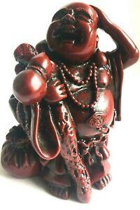 LAUGHING HAPPY BUDDHA Carved Hardwood, FENG SHUI BALI BALINESE 12CM