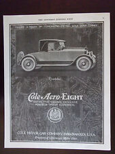 1920 Cole Aero Eight Roadster Automobile Advertisement