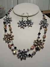 Tri Tone Flower Floral And Bead Black Glass Faceted Bead Necklace Earring Set