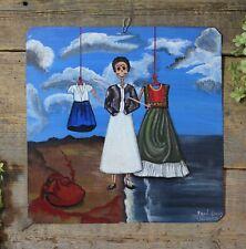 Frida Kahlo Portrait Heart Day of the Dead Tin Painting Oaxaca Mexican Folk Art