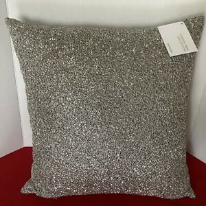 """Hudson Park Luster Wire Beaded 18"""" x 18"""" Decorative Pillow Gray Silver"""