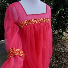 Women's Vintage 60's 70's Red Mini Dress Nightgown Pin Up Girl Bombshell Small
