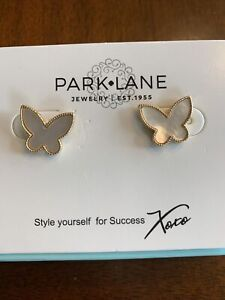"Park Lane Chantilly Earrings Gen Mother of Pearl 5/8"" Butterflies New Reg $48"