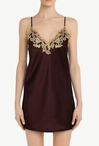 La Perla Maison XS Short Silk Slip Chemise Short Gown Bordeaux Red $720
