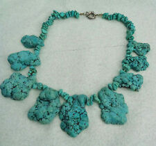 "HUGE CHUNKY TURQUOISE NECKLACE W, SILVER CLOSURE LENGTH  17.5"" NECKWEAR 20"" TOTA"