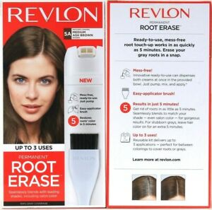 2 Boxes Revlon Permanent Root Erase Matches 5A Medium Ash Brown Up To 3 Uses