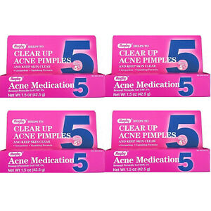 4-PACK Rugby Acne Medication 5  Benzoyl Peroxide Gel 5% Pimple Treatment 1.5 oz
