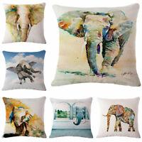 18inch Elephant Sofa Pillow Case Throw Cushion Cover Cotton Linen Home Decor