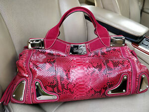 Limited Gucci Race Python Leather Suede Bag Satchel Doctor Bamboo Tassel 177091