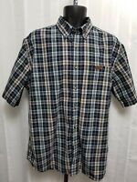 Carhartt Mens Plaid Relaxed Shirt Size Large Button Up Short Sleeve blue EUC