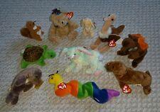 NEW TY BEANIE BABY Lot of 10: squirrel, bear, turtle, elk, walrus, bunnies...