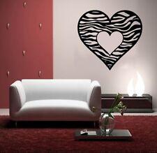 ZEBRA HEART Wall / Car Decal Sticker, Highest Quality, Made in USA