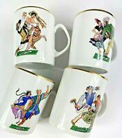 4 Vintage Favolina Polish Folk Dancers Mugs Cups Polka Mazur Goralski Poland