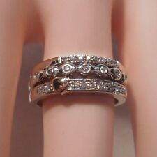 Alwand Vahan~1/5 ct Diamond Stackable Rings in 14K Rose Gold & 925 Silver Sz 7