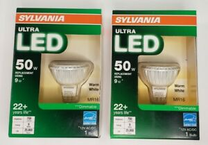 SYLVANIA Ultra LED Light Bulb 2 pack  Dimmable 9W replaces a 50W MR16 Warm White
