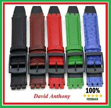 17mm (20mm) Genuine Leather Strap, Made to Fit SWATCH Watches Anti-Allergic.NEW