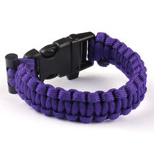 Rope Paracord Survival Bracelet Flint Fire Starter Compass Whistle Outdoor Wrist