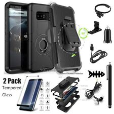 Samsung Galaxy Note 8 Rugged Armor Case Belt Clip Holster + Tempered Accessories