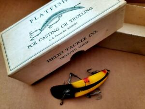 Vintage Helin Wood FLATFISH X4, Collectible Lure In Original Box