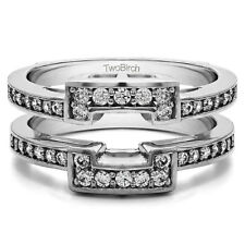 Sterling Silver Square Halo Style Ring Guard(0.5tw)