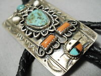 TREMENDOUS VINTAGE ZUNI TURQUOISE STERLING SILVER BOLO OLD
