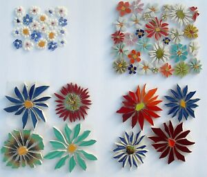 Small & Large Colorful Flowers, Variations, Broken China Mosaic Tiles