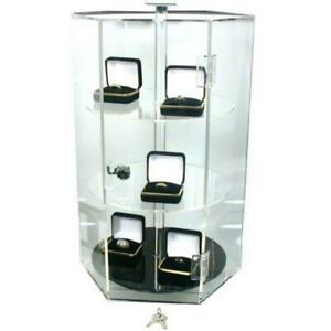 Rotating Clear Acrylic Locking Jewelry Display Case Revolving