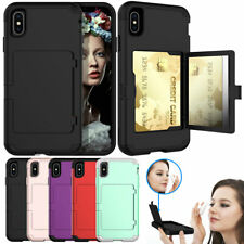 Girly Flip Mirror Credit Card Holder Hard Case For iPhone XS MAX XR X 8 7 6 Plus