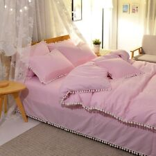 100% Cotton Solid Color Bedding Set Duvet Cover+Sheet+Pillow Case Four-Piece Hot