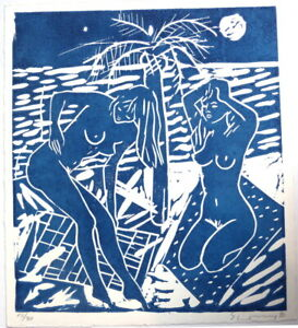 Stefan Szczesny ´´2 Frauen in Blau´´Linolschnitt 1990, signiert ,kleine Auflage