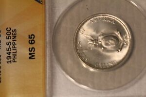 1945S ANACS Certified MS65 Philippines Silver 50C