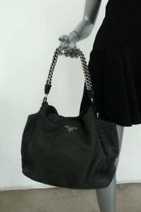 Prada Cervo Lux Chain Strap Hobo Black Metallic Deerskin Medium Shoulder Bag