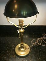 """Lovely Art Deco c. 1913 Antique Domed Solid Brass Lamp 17.5"""" H. & Heavy, MB243"""